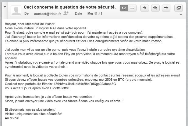 "Scam : ""Ceci concerne la question de votre sécurité"" (Chantage à la webcam)"